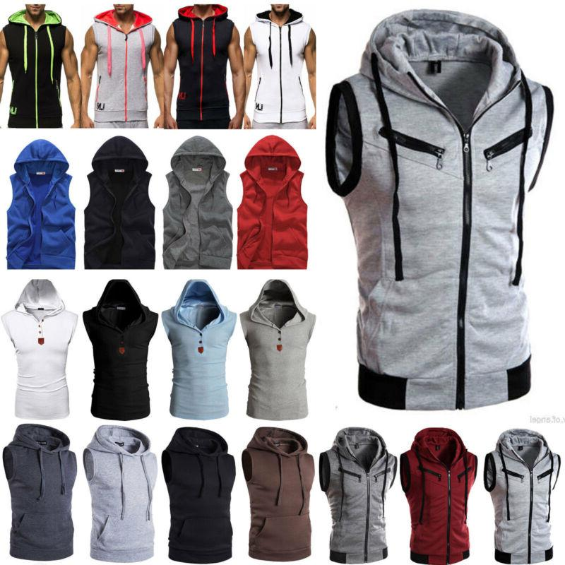 Mens Sleeveless Hoodie Vest Sport Muscle Hooded Coat Jacket