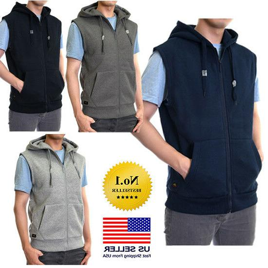 Mens Sleeveless Vest Solid Zipper Zip Up Hooded Hoodie Sweat