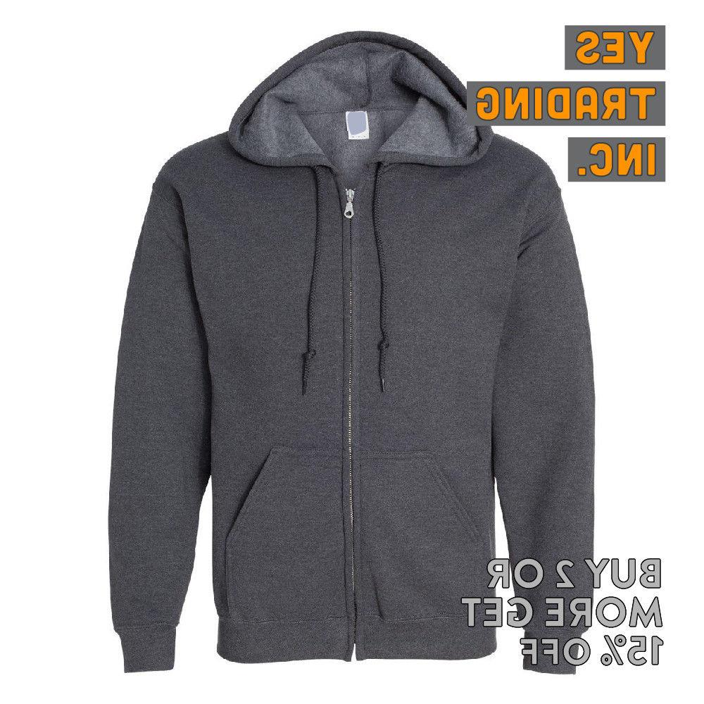 MENS WOMENS UNISEX PLAIN FULL ZIPPER HOODED ZIP ACTIVE