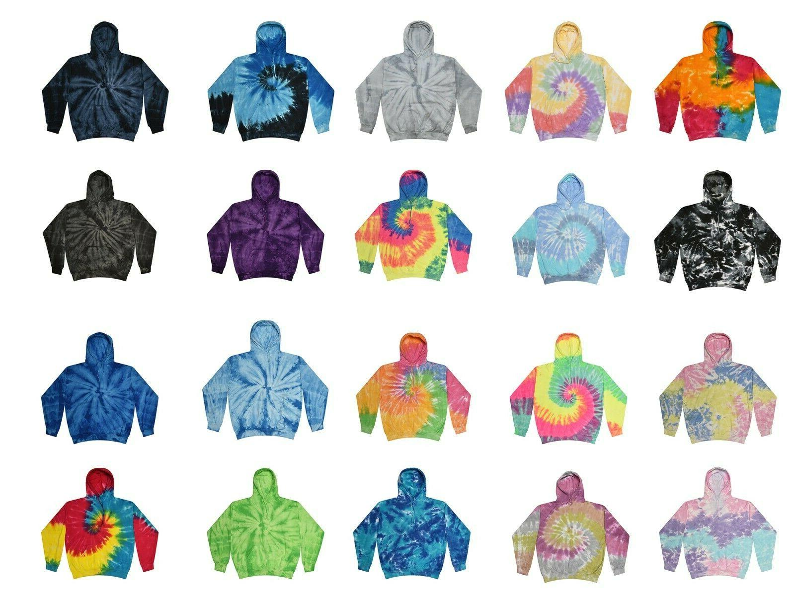 tie dye multi color hoodies adult s