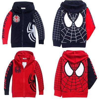 Boys Kids Spiderman Zip Up Sweatshirt Hooded Hoodies Jacket