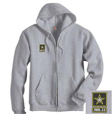 US Army Logo EMBROIDERED Gray Zipper Hoodie Sweatshirt New G