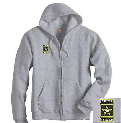 US Army Retired Star Logo EMBROIDERED Gray Zipper Hoodie Swe