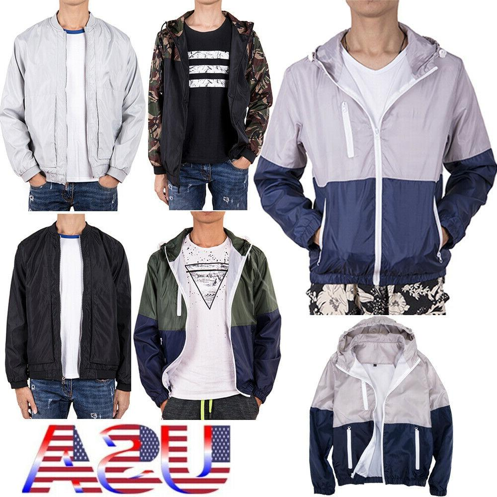 us men waterproof wind breaker zipper hoodie