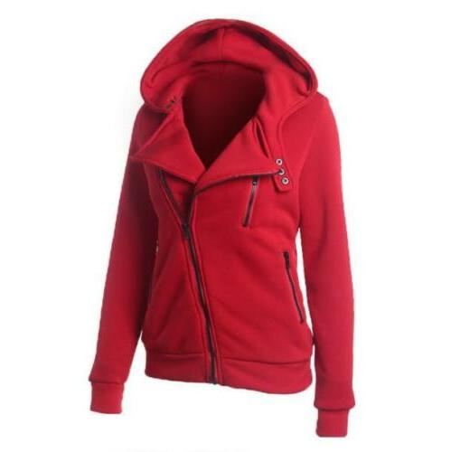 Women Casual Jumper Ladies Zipper Tops Hooded