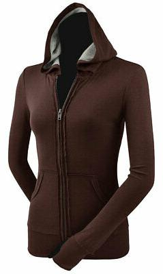 Kavio Women's Long Sleeve Raw Edge Lining Heather Zip Jacket