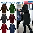 Womens Hoodies Zipper Sweatshirt Long Coat Jacket Tops Sweat