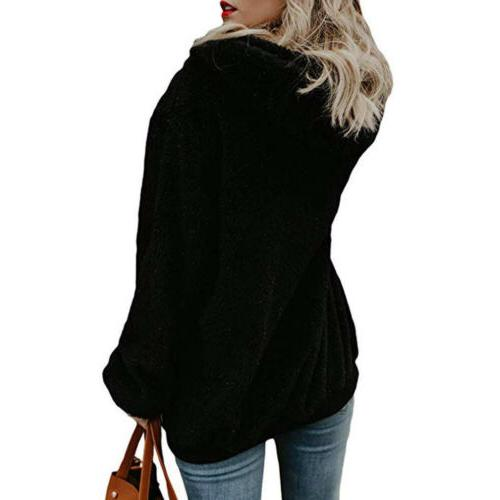 WOMENS WINTER ZIP UP HOODIE ZIPPER PLAIN HOODED
