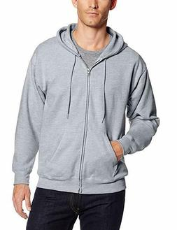 Large Hanes Men's Full Zip EcoSmart Fleece Hoodie, Light Ste
