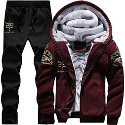 LBL Tracksuit Men Sporting Fleece Thick Hooded Winter Warm J
