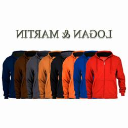 Logan & Martin Men's Fleece-Lined Zip-Up Hoodies in 8 Colors
