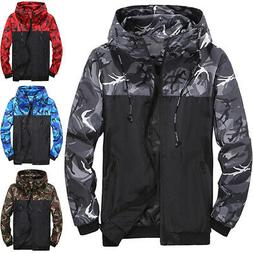 Men Camo Windbreaker Hoodie Hooded Sweatshirt Zipper Jacket