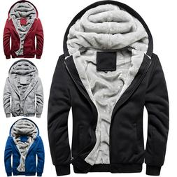 Men Hoodie Jacket Winter Warm Fleece Zip Up Hooded Sweatshir