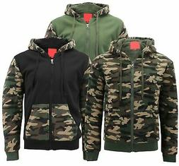 MX USA Men's Army Camo Zip Up Sherpa Hoodie Fleece Hunting S