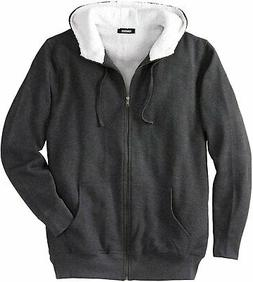 KingSize Men's Big & Tall Sherpa-Lined Fleece Zip Hoodie Fle