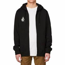 Volcom Men's Deadly Stone Zip-Up Hoodie Black Clothing Appar