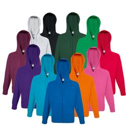 MENS FRUIT OF THE LOOM FULL ZIP HOODIE HOOD ZIPPED SWEATSHIR