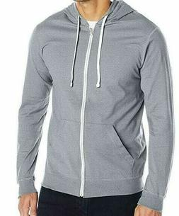 Fruit of the Loom Men's Jersey Full-Zip Hoodie, Heather Grey