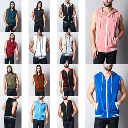 MEN'S Lightweight Sleeveless Gym Fitness Zipper Contrast Ves