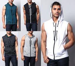 Victorious Men's Lightweight Sleeveless Zipper up Gym Vest H
