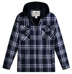 WenVen Men's Plaid Hooded Shirt Jacket with Sherpa Lined(B