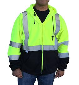 3C Products Men's Safety Fleece Hoodie Jacket Small Neon Gre