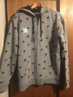 DC Men's Sherpa Lines Full Zip Hoodie Size Xl Grey/black