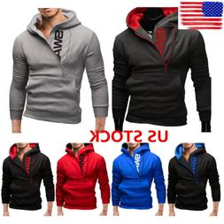 Men's Side Zipper Hooded Hoodie Jacket Letter Print Outwear