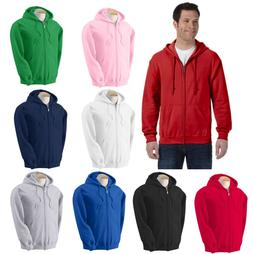 Men's Solid Full Zip Up Hoodie Classic Hooded Zipper Sweatsh