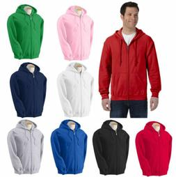 Men's Solid Full Zip Up Hoodie Classic Hooded  Zipper Sweats