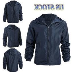 Men Waterproof Windbreaker Zipper Jacket Hoodie Light Sports