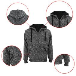 Mens Athletic Warm Ultra Soft Sherpa Lined Fleece Zip Up Swe