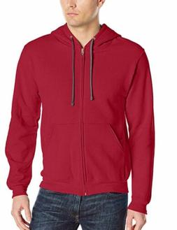 Fruit Of The Loom Men's classic premium zip up hoodie red