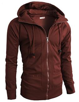 H2H Mens Fashion Double Zipper Closer Hoodie Zip-Up With Two