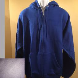 Hanes Mens Full Zip Up Fleece Hoodie Plain Hooded Zipper Swe