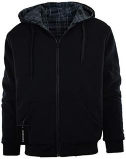 Mens Full Zipper Fleece Basic Hoodie with Lining to Choose f