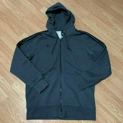 Adidas Mens Gray Full Zip Up Hoodie Size Large Athletic Runn