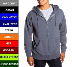 Mens Heavy Cotton Zipper Zip Hood Hoodie Solid Plain Blank P