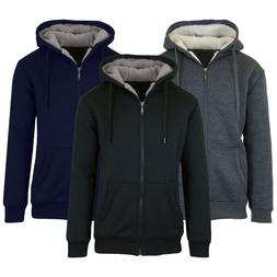 Mens Heavyweight Fleece Lined Hoodie Sweater Full Zip-Up War