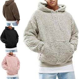 Mens Hoodie Winter Warm Fleece Hood Zipper Sweater Jacket Ou