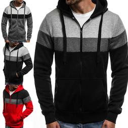 Mens Plain Hoodie American Zipper Sweatshirt Hooded Pocket S