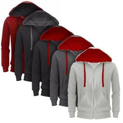Mens Plain Hoodie Fleece Zipper Jacket Hooded Sweatshirt Top