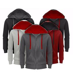 Mens Plain Hoodie Hooded Fleece Jacket Slim Sweatshirt Zippe