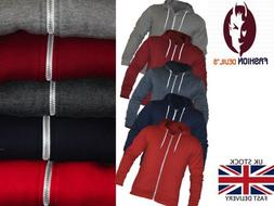 mens plain zip up fleece hoodies fashion