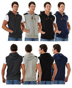 Mens Sleeveless Hoodie Stone Edge Brand Patched Shoulder Zip