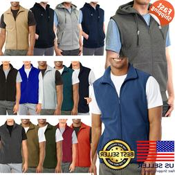 Mens Sleeveless Vest Zipper Full Zip Up Polar Fleece Hooded