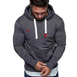 Dressin Mens Solid Casual Hoodie Autumn Winter Long Sleeve D
