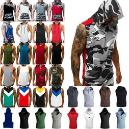 Mens Summer Muscle Hoodie Sports Hooded Fitness Bodybuilding