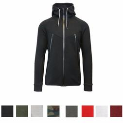 Mens Tech Fleece Hoodie Jacket Coat Scalloped Bottom Full Zi