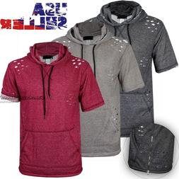 Mens Terry Extended Casual Distressed Hoody Shirt Zipper Elo